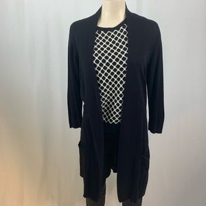 Bhs Limited Black Duster Open Cardigan 12